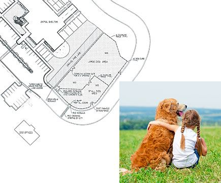 An overhead drawing of Katie's Dog Park paired with a photograph of a girl with her arm around a