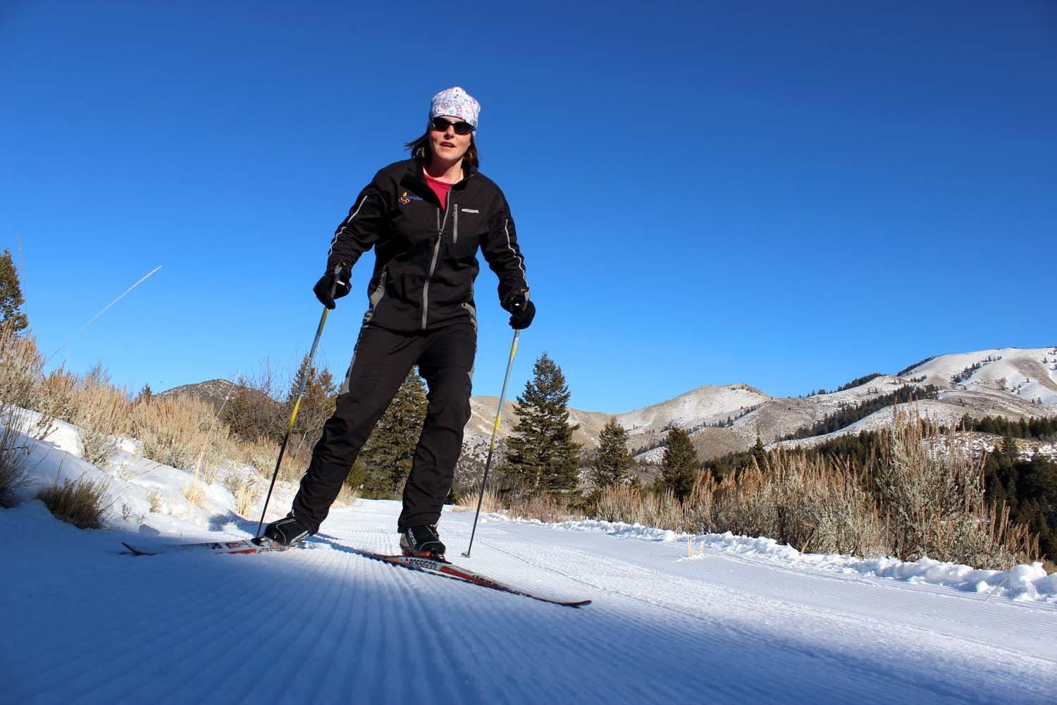 Skiing on Groomed Trail
