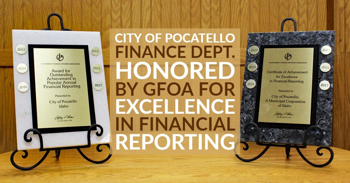 The Finance Department&#39s award plaques from GFOA for excellence in financial reporting.