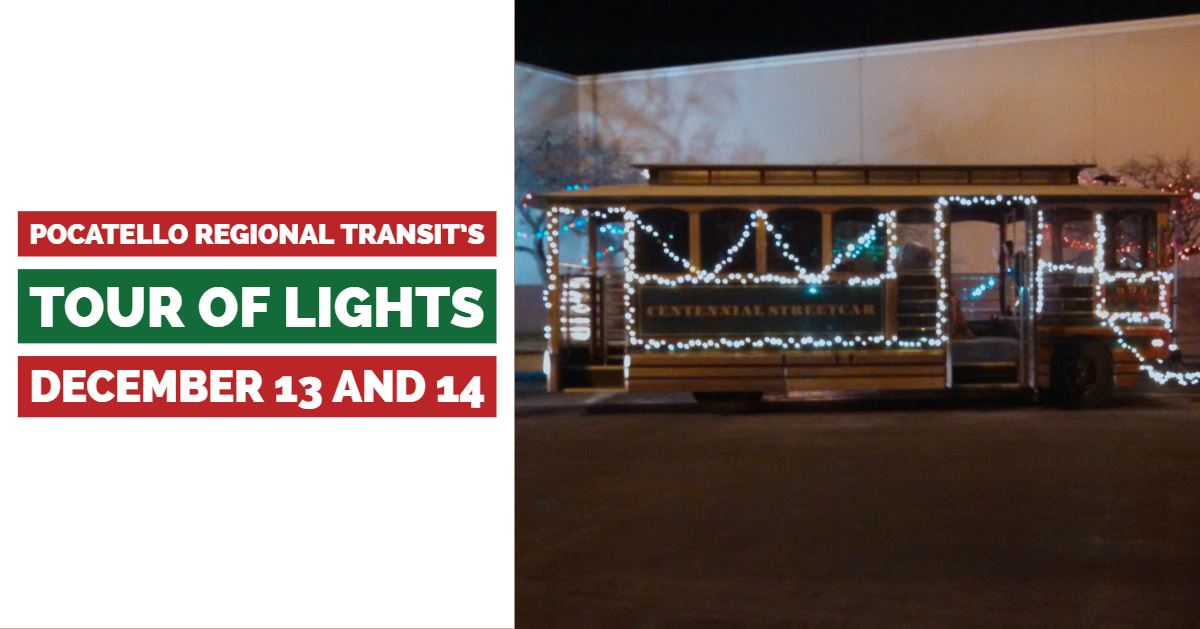 A Pocatello Regional Transit bus adorned with holiday lights.