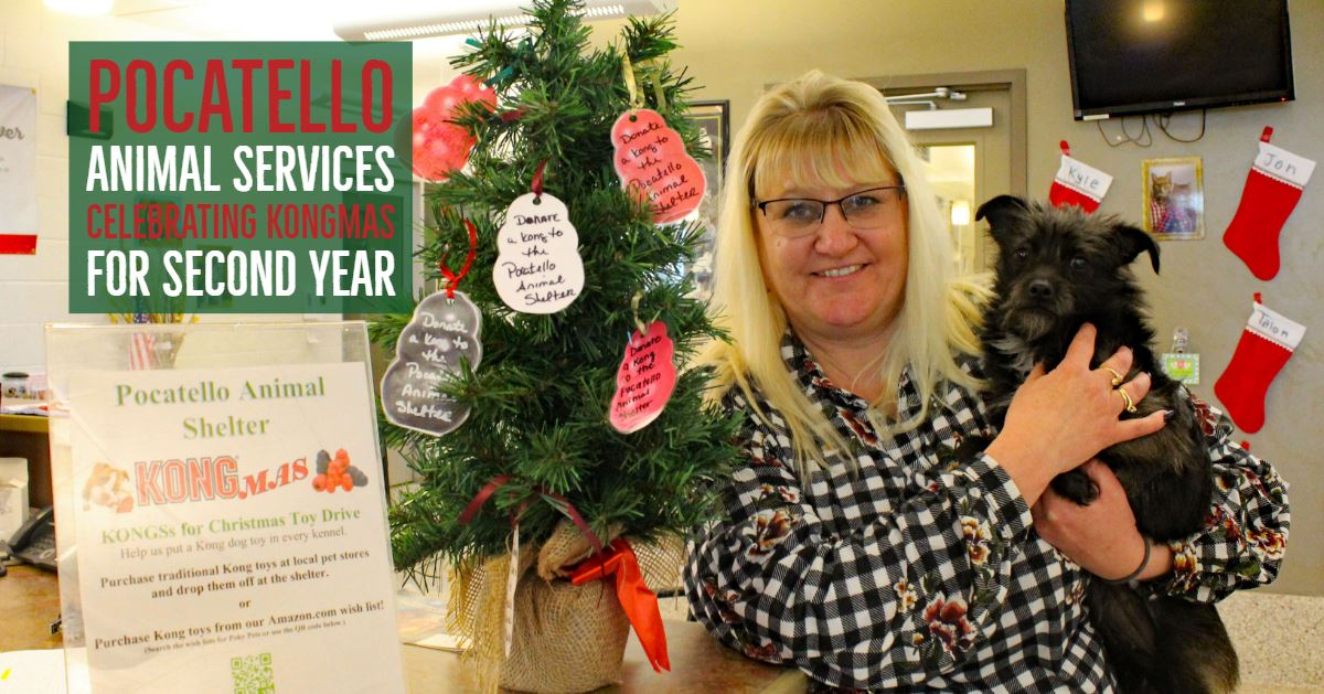 Danielle Garcia, Pocatello Animal Services Director, and Bud stand near a KONGmas tree.