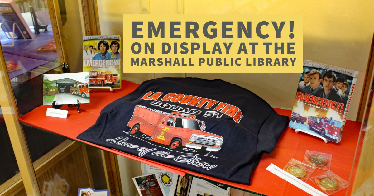 The Emergency! display at the Marshall Public Library.