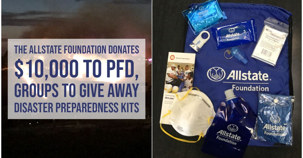 One of the disaster preparedness starter kits that will be given away by The Allstate Foundation and