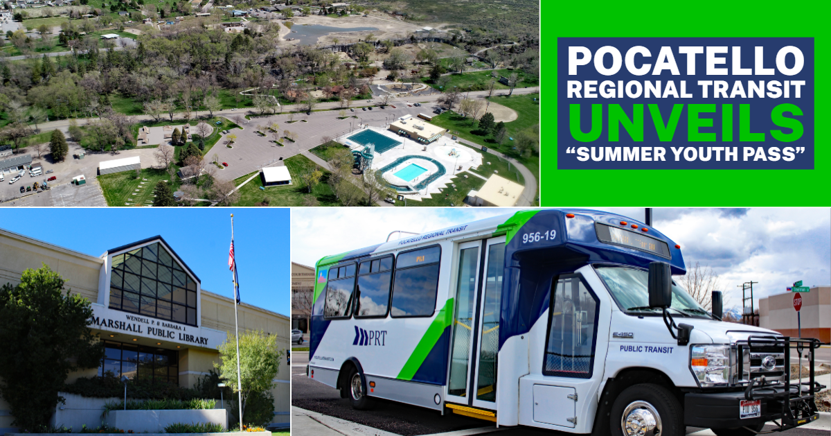 A Pocatello Regional Transit bus, lower Ross Park from the air, and the Marshall Public Library.