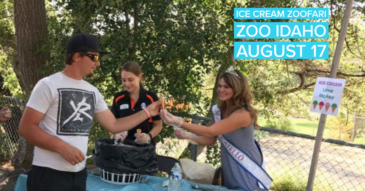 Volunteers serve ice cream at a previous Ice Cream Zoofari at Zoo Idaho