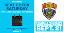 Flyer for the Pocatello Police Department's Car Seat Check event.
