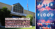 "Cover of ""After the Flood"" and exterior of the Marshall Public Library"