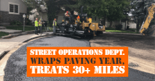 A Pocatello Street Operations Department crew paves a road in Pocatello.