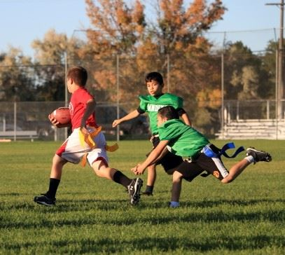Youth playing flag football in Pocatello, Idaho