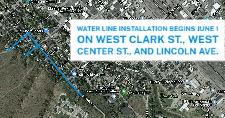 Map of the Water Department's projects on Clark St., Center St., and Lincoln Ave.