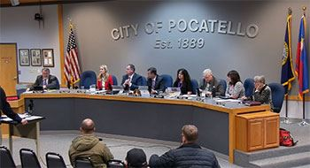 Members of the Pocatello City Council sitting at the dais at City Hall