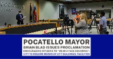 "Pocatello Mayor Brian Blad reads his ""Wear a Face Covering"" proclamation to journalists."