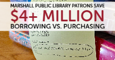 A receipt from the Marshall Public Library that shows how much money the patron saved.