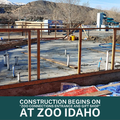 "The construction of the new ""Zoo Connections Entrance and Gift Shop"" at Zoo Idaho."