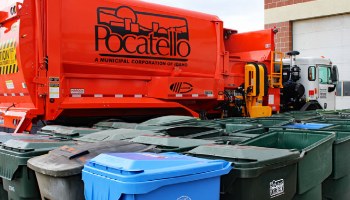 City of Pocatello Sanitation Department truck and autocarts