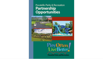 The cover of the Pocatello Parks and Rec. Dept.'s partnership opportunities brochure.