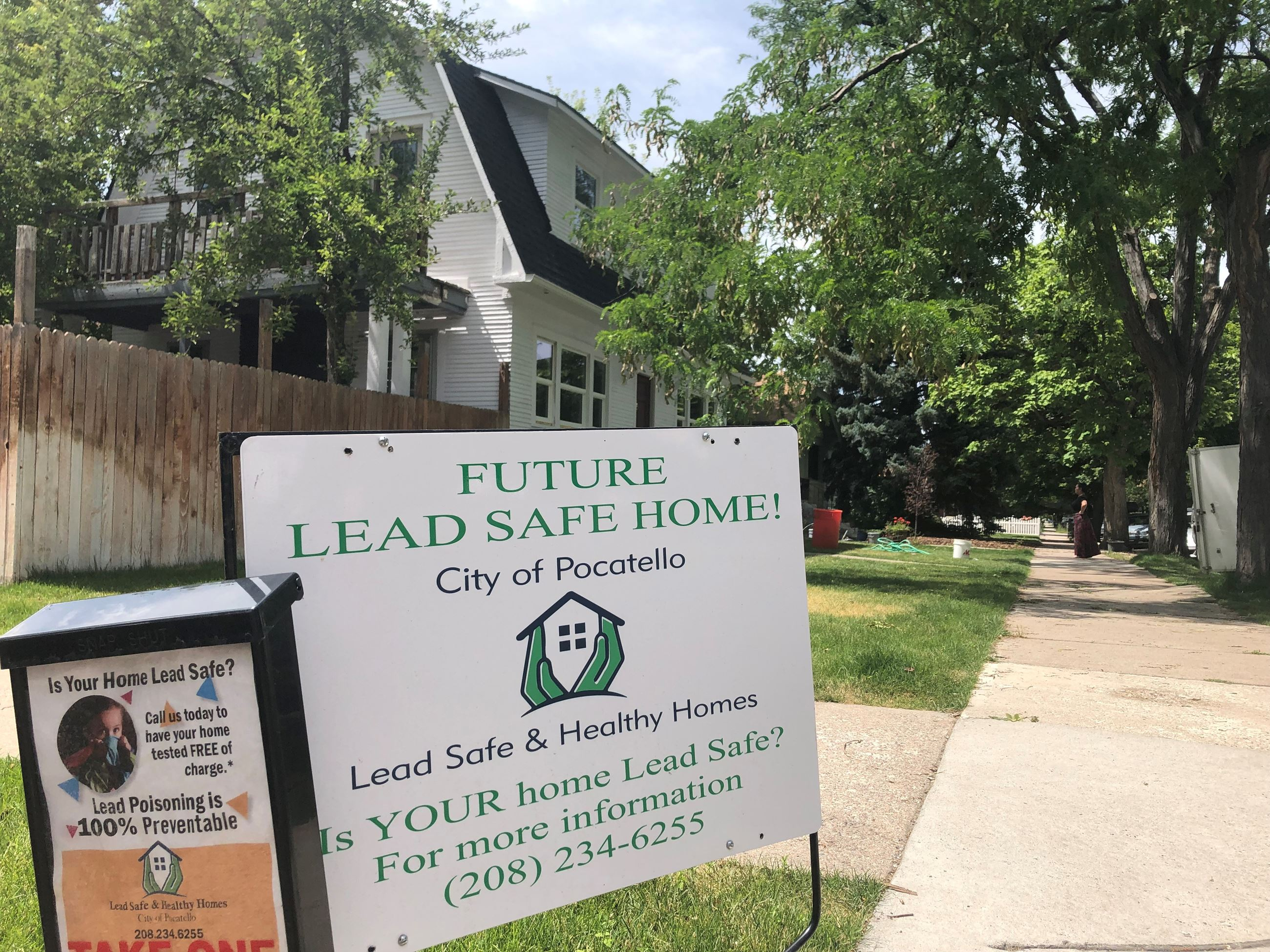 Photograph of home with Future Lead-Safe Home! sign in front