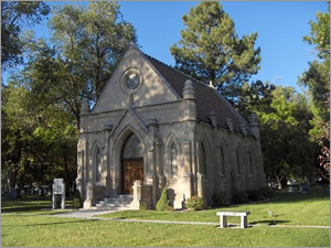 An exterior photograph of Brady Chapel at Mountain View Cemetery in Pocatello, Idaho
